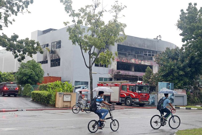 The warehouse at 65 Sungei Kadut Loop, which was ravaged by fire on Wednesday (Nov 2).