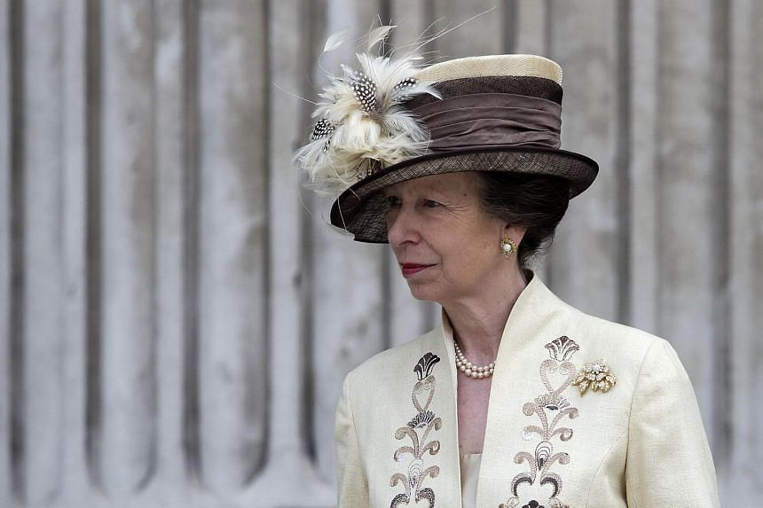 Princess Anne leaving a national service of thanksgiving for the 90th birthday of Britain's Queen Elizabeth II at St Paul's Cathedral in London.