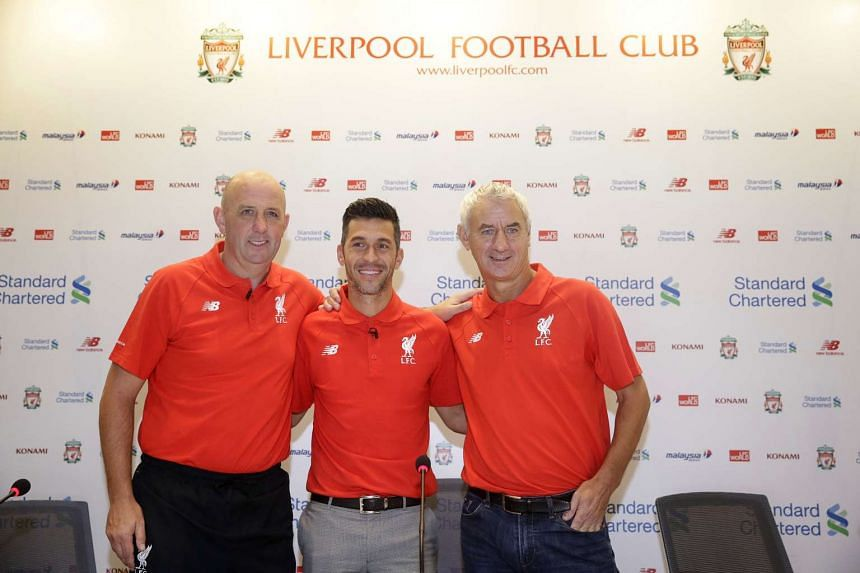 Former Liverpool footballers Gary McAllister, Luis Garcia and Ian Rush attending LFC World, presented by Standard Chartered Bank, at Suntec City West Atrium on Nov 3, 2016. ST