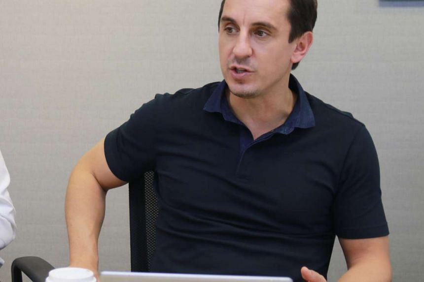 Gary Neville at a briefing on property projects in Manchester when he was in Singapore on Oct 26, 2016.