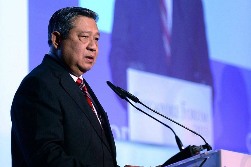 Former Indonesian president Susilo Bambang Yudhoyono giving his keynote speech at the Singapore Forum held at Shangri-La Hotel on April 11, 2015.