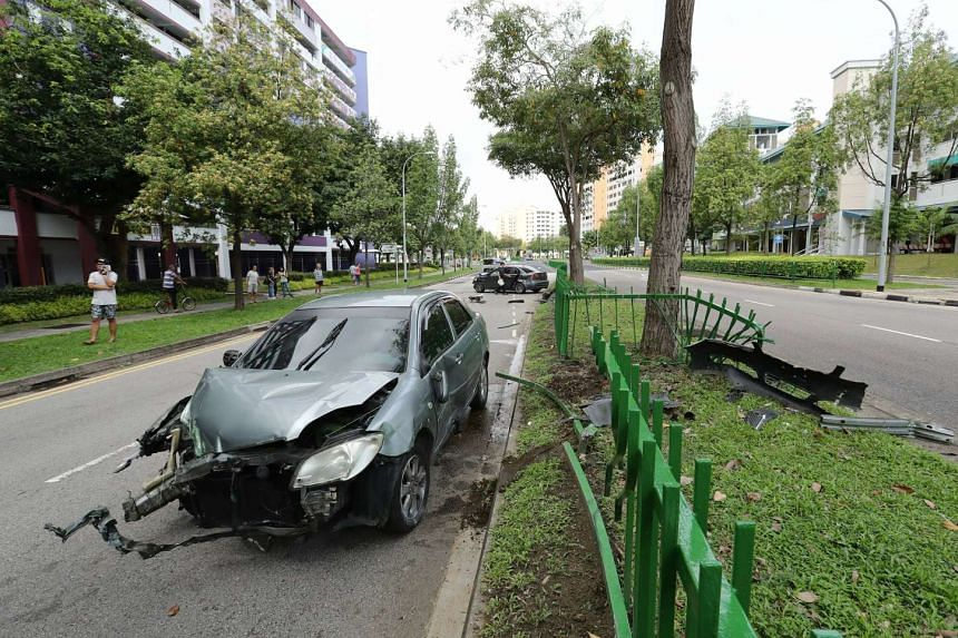 An accident involving three cars and a taxi at Pasir Ris Drive 1 on Nov 4, 2016.