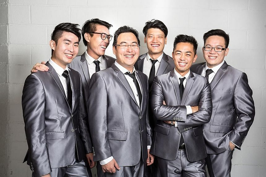 (From far left) Ooi Zhe Xi, Zhan Zhirui, Chris Khoo, Chong Wai Lun, Takuma Tanaka and Cheong Chee Jun are members of After Six. The seventh singer, Chan Ern Theng, is not in the photo.