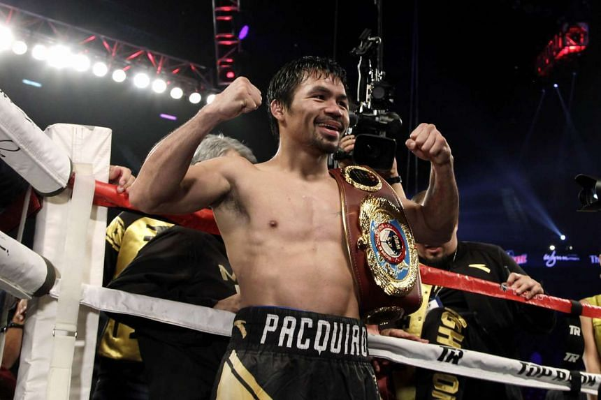Manny Pacquiao celebrating after defeating Jessie Vargas in the WBO welterweight championship at the Thomas & Mack Centre in Las Vegas, Nevada, on Nov 5, 2016.