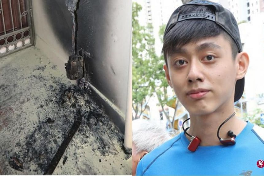 (Left) The suspected source of the fire originated from electrical wiring. (Right) Mr Tan Sheng Hui and his brother helped to rescue an elderly man from a fire.