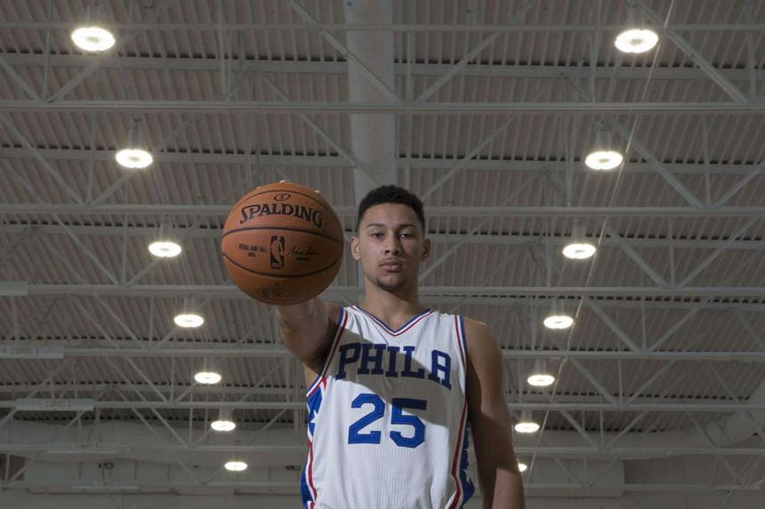 Philadelphia 76ers rookie Ben Simmons poses for a photograph during media day on Sept 26, 2016.