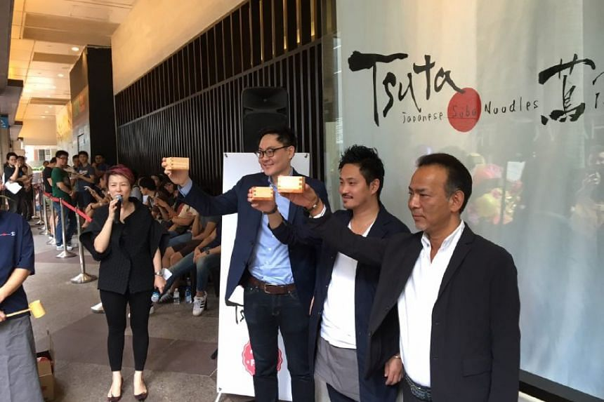 (From left) Mr Brian Chua, CEO of Tsuta Global, Mr Yuki Onishi, executive chef and director of Tsuta Global and Mr Saito Hiroshi director of Tsuta Global.