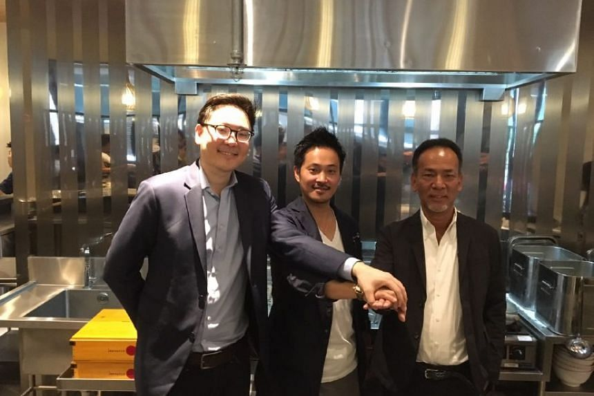 (From left) Mr Brian Chua, CEO of Tsuta Global, Mr Yuki Onishi, executive chef and director of Tsuta Global and Mr Saito Hiroshi director of Tsuta Global.