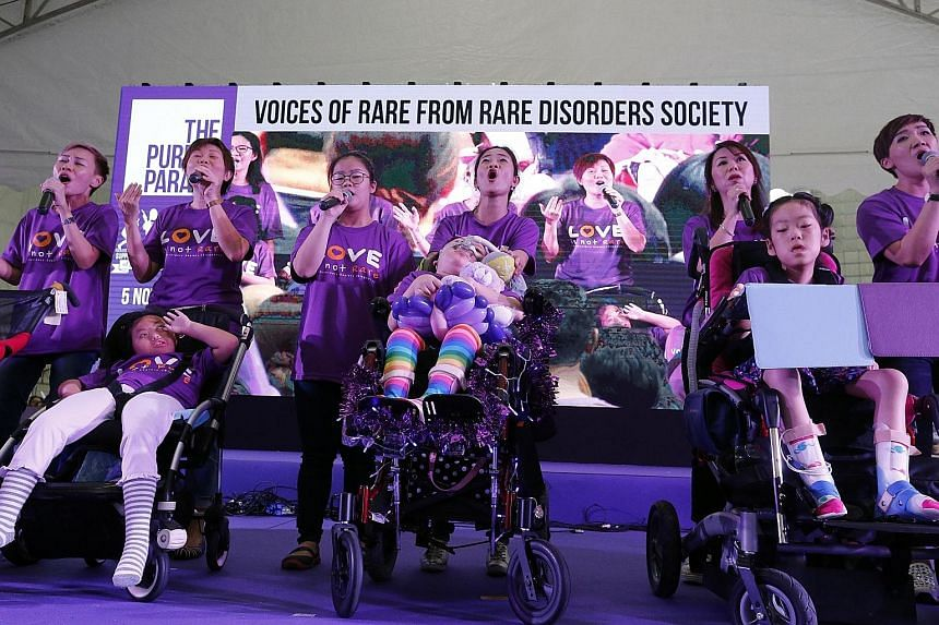 Members from the Rare Disorders Society showcasing their talent at the annual Purple Parade. Ms Phua, who is adviser to the Purple Parade committee, said she was heartened by the turnout for the event despite the rain yesterday. A model posing at Elg