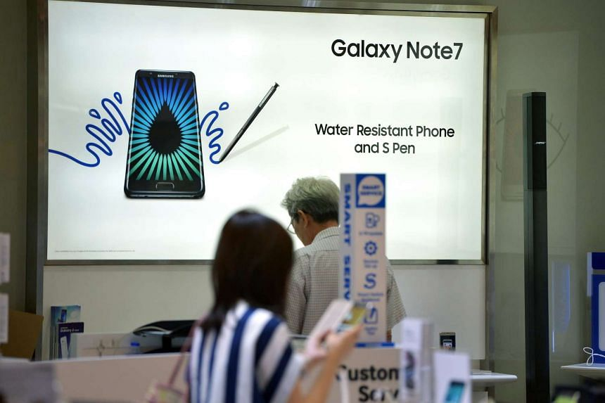 An advertisement on the Samsung Galaxy Note7 is seen at the Samsung Experience Store store in Ang Mo Kio Hub on Sept 2, 2016.