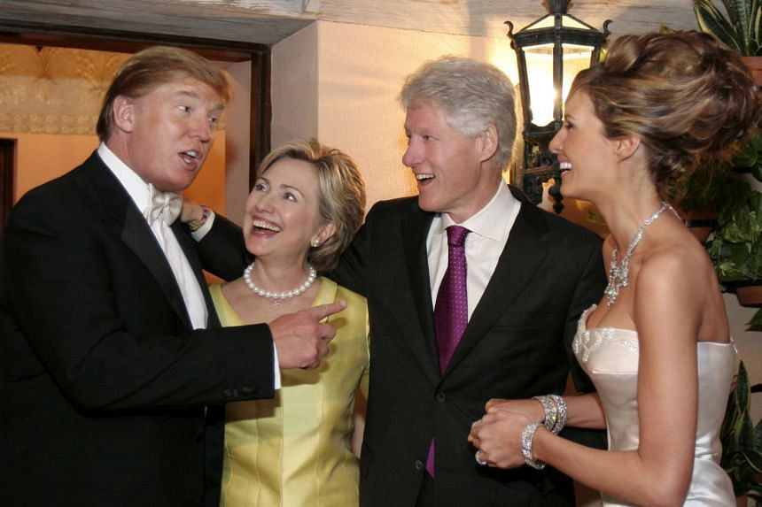 "The Clintons were guests at the wedding of Trump to his third wife Melania in 2005. Donald and Hillary look ""just like teenagers in love"" in the flashbulb moment, as