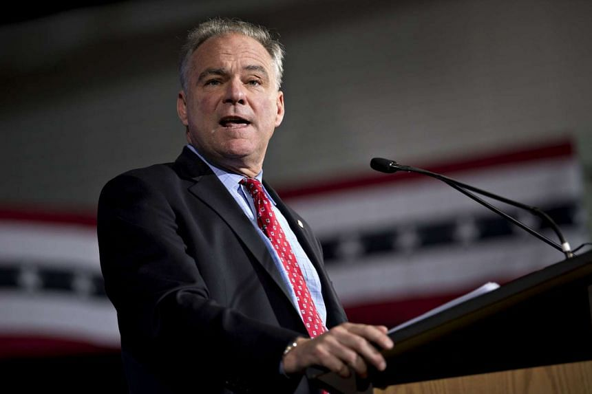 Tim Kaine, 2016 Democratic vice presidential nominee, speaks during an event conducted entirely in Spanish in Phoenix, Arizona on Nov 3, 2016.