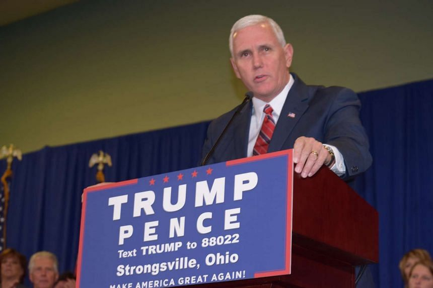 US Republican vice presidential candidate Mike Pence speaks at a campaign rally in Strongsville, Ohio on Nov 4, 2016.