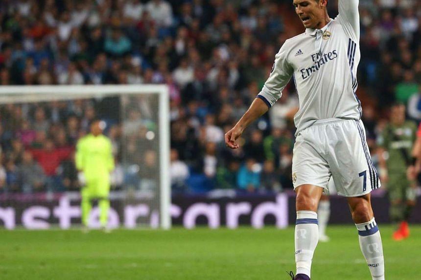 Real Madrid's Cristiano Ronaldo reacts in Santiago Bernabeu stadium, Madrid, Spain on Oct 18, 2016.