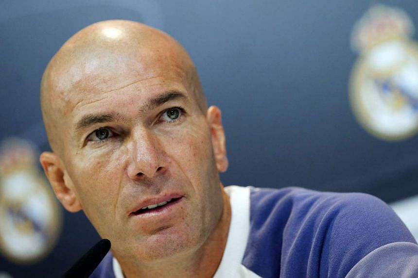 Real Madrid's coach, Zinedine Zidane, offers a press conference after the team's training session at Real Madrid's City in Valdebebas, Madrid, Spain on Nov 5, 2016.