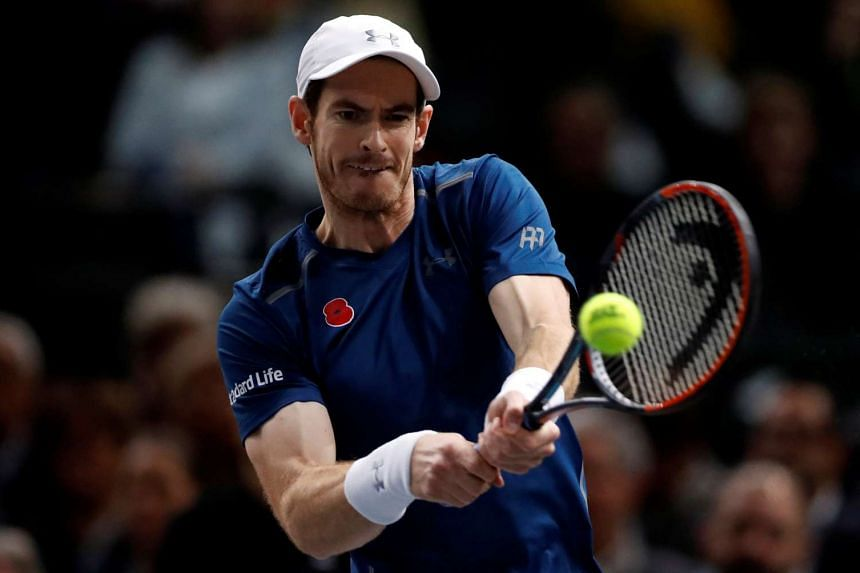 Andy Murray of Britain returns the ball during the Paris Masters tennis tournament men's singles final on Nov 11, 2016.