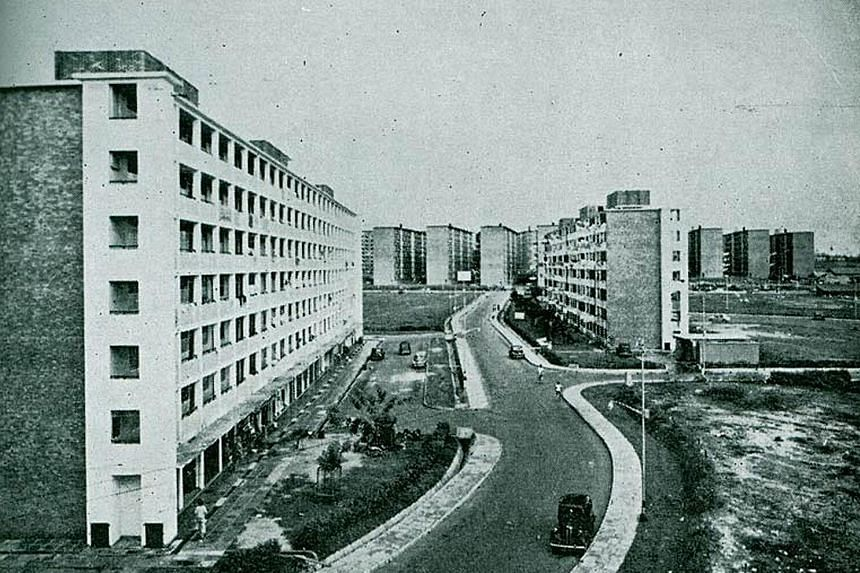 Left: Completed in 1961, the rental blocks along Stirling Road in Queenstown were among the first public flats under the HDB's first five-year programme, which aimed to build flats quickly and cheaply to resettle squatters. Left: Block 45, Stirling R
