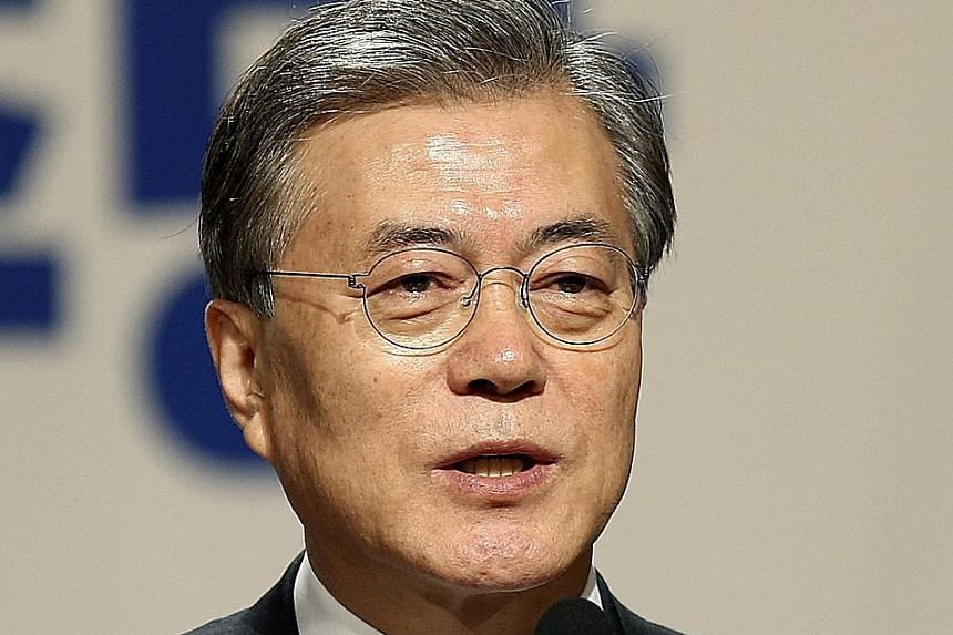 A recent survey showed that support for Mr Moon Jae In's Democratic Party has surged to 37.5 per cent.