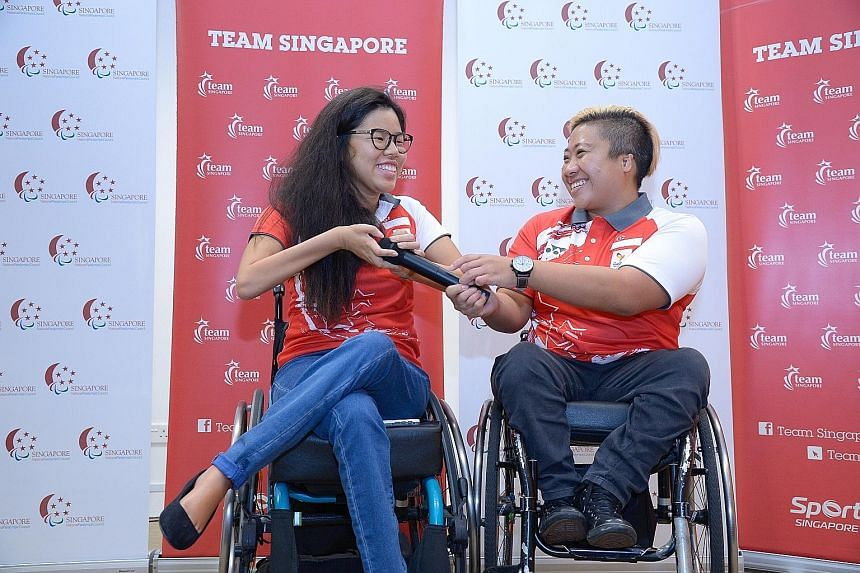 Swimmers Yip Pin Xiu (far left) and Theresa Goh at a press conference in September. The duo produced Singapore's best performance at the Paralympics. Yip won two gold medals and set two world records in Rio, while Goh won a bronze medal.