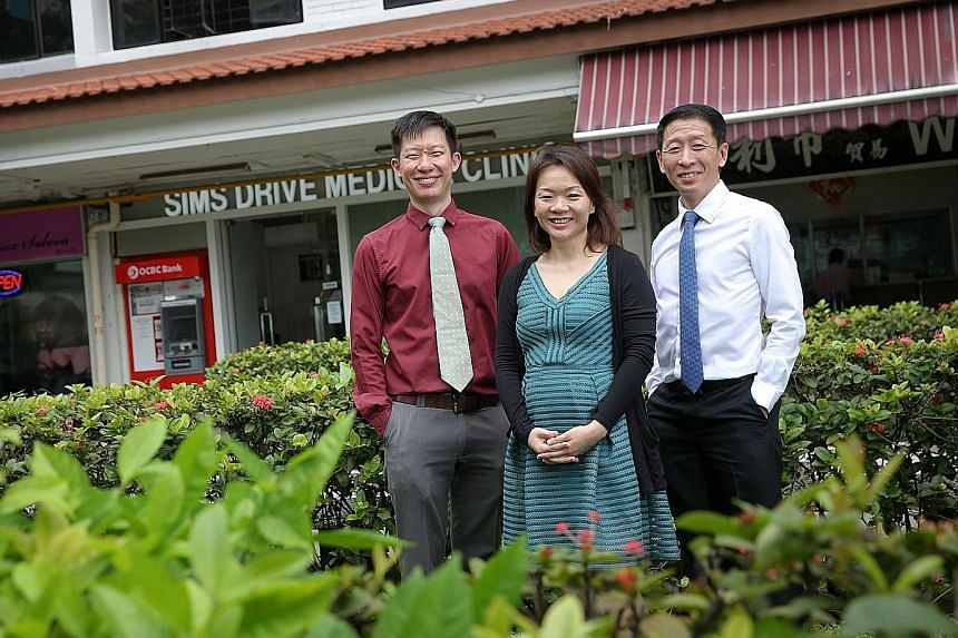 In August, (from left) Dr Chi, Dr Tan and Dr Lim at Sims Drive Medical Clinic noticed that they were seeing an average of 10 people every day who showed similar symptoms of rashes, joint pain and sore eye. Tests for dengue, chikungunya, measles and r
