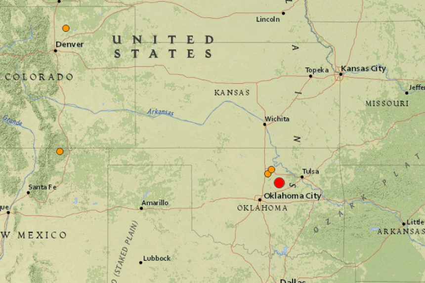 The quake was centred 3.2km west of Cushing, at a shallow depth of 6km, the US Geological Survey said.
