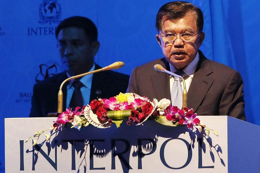 Indonesian Vice President Jusuf Kalla delivers a speech during the 85th Interpol General Assembly in Nusadua, Bali, Indonesia on Nov 7, 2016.