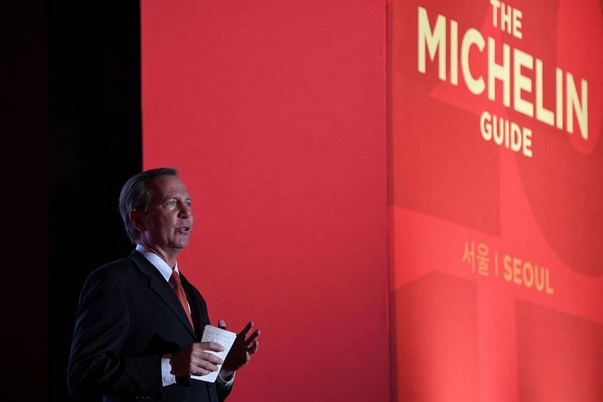 Michelin Guide International Director Michael Ellis speaks at the launch of the Seoul Michelin Guide in Seoul on Nov 7, 2016.