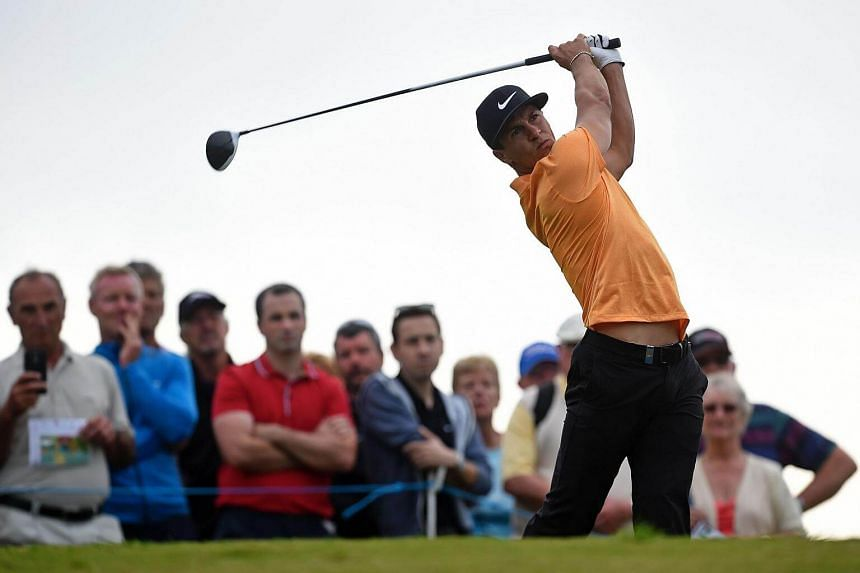 Thorbjorn Olesen plays a shot on Tee 18 during the second round of the Portugal Master golf tounament at Victoria Golf Club golf course in Vilamoura on Oct 21, 2016.