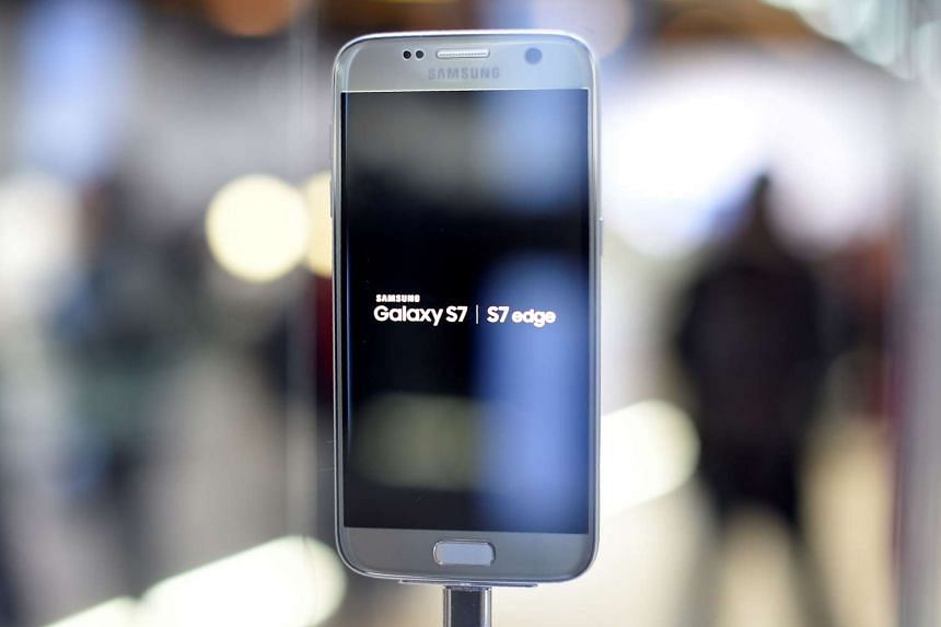 This file photo taken on Feb 21, 2016 shows the Galaxy 7 mobile device by Samsung presented in Barcelona.