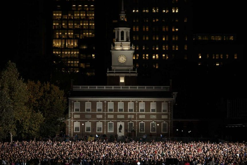 A crowd gathers in front of Independence Hall in Philadelphia before a Hillary Clinton rally on Nov 7, the day before Election Day.