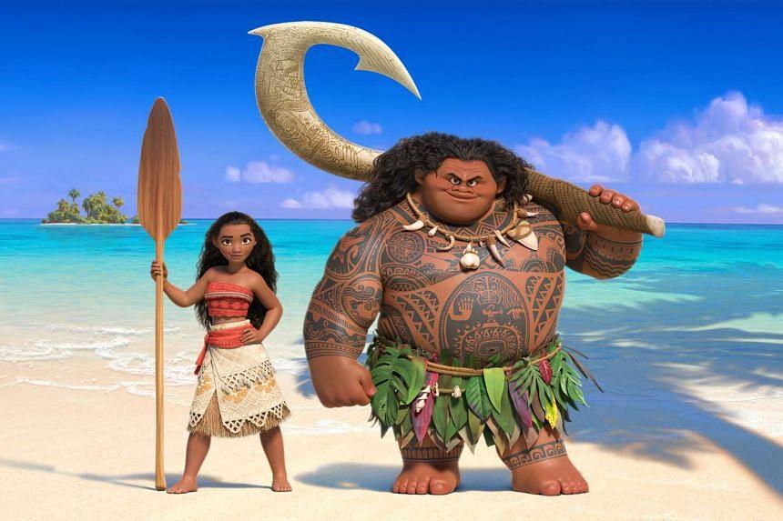 New Disney princess Moana (left), voiced by Auli'i Cravalho, and demigod Maui, voiced by Dwayne Johnson.