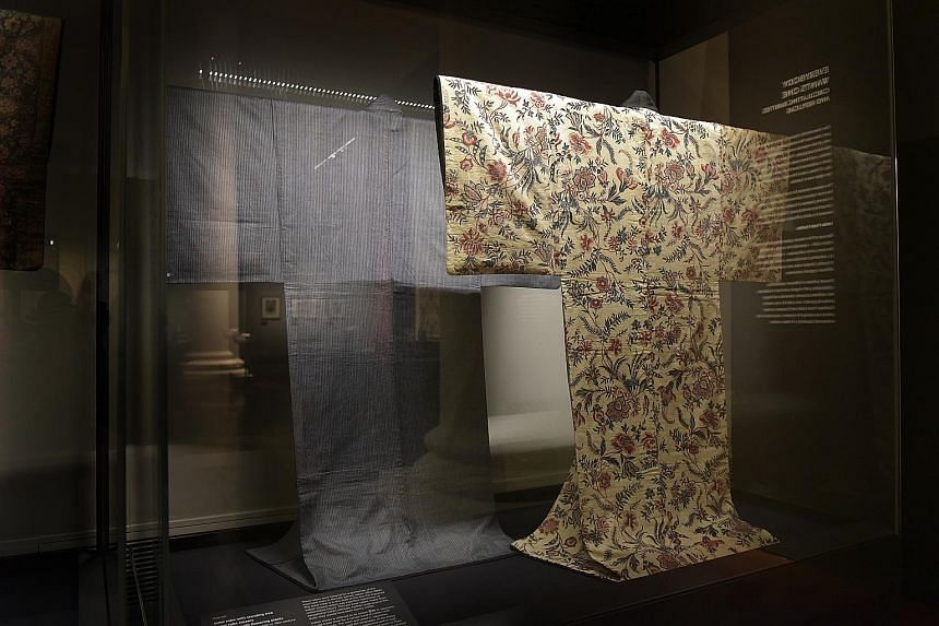A Japanese robe made from Indian chintz, a type of cotton dyed with floral patterns, at the exhibition Port Cities: Multicultural Emporiums Of Asia, 1500-1900.