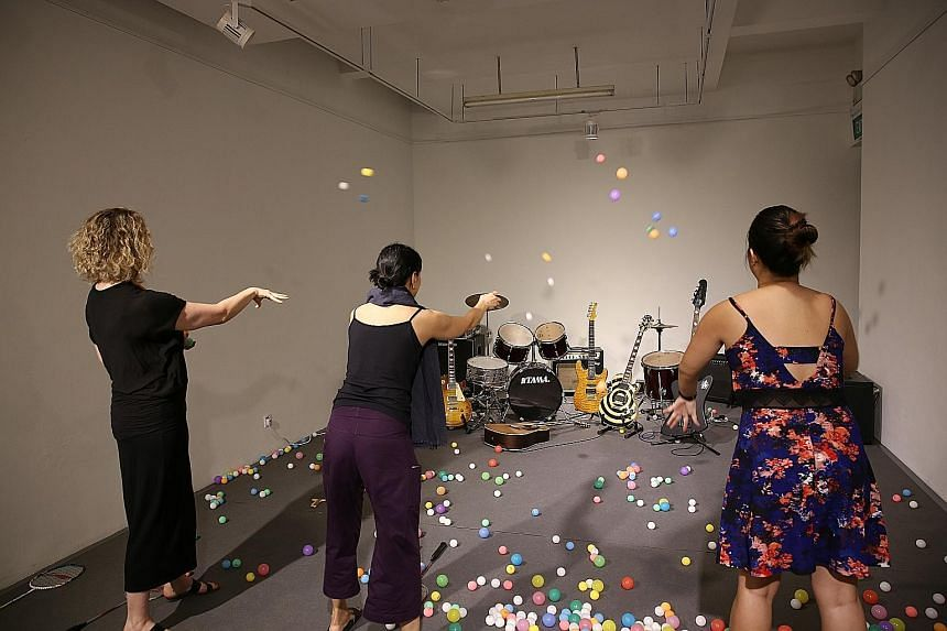 """Home-grown film-maker Jeremy Chua is one of 11 """"film therapists"""" at the film therapy clinic at The Substation; and artist Ang Song Ming's interactive work, Piece For 350 Onomatopoeic Molecules (above)."""