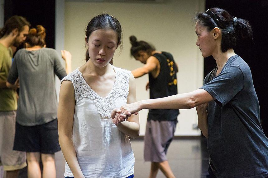 Current Frontier Danceland dancer Adele Goh (left) with former dancer Lee Hwee Ming (right).