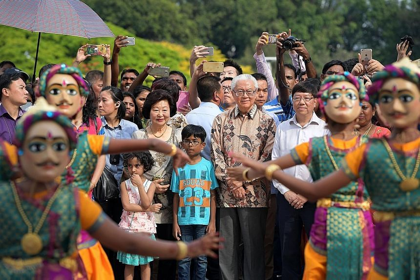 President Tan and Mrs Mary Tan at the Istana Open House for Deepavali on Oct 29. Dr Tan said a vital dimension of his role has been working with the different ethnic groups that make up Singapore's multiracial society.