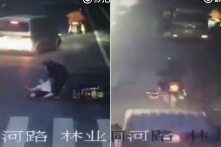The victim, surnamed Zhang, was first knocked down by a motorcyclist. Two minutes later, a second motorcyclist ran over her prone body without stopping.