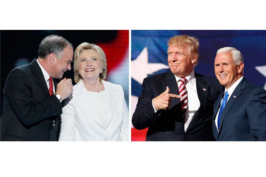 Democratic presidential candidate Hillary Clinton (right) with her vice-presidential nominee Tim Kaine (left); and Republican presidential candidate Donald Trump (second from right) with his vice-presidential nominee Mike Pence (right). Mrs Clinton a