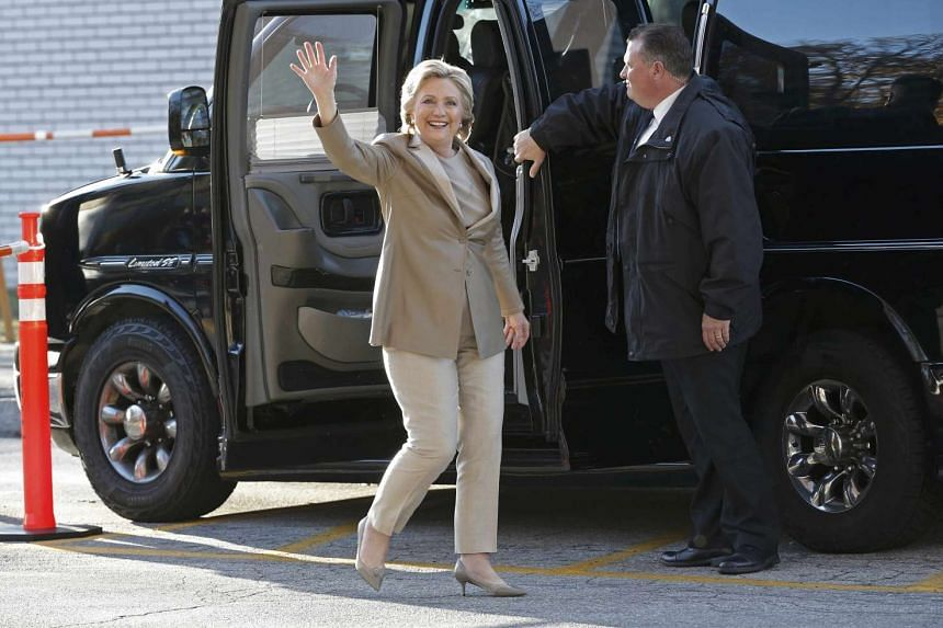 Democratic presidential candidate Hillary Clinton arrives to vote in the U.S. presidential election at Grafflin Elementary School in Chappaqua, New York on Nov 8.