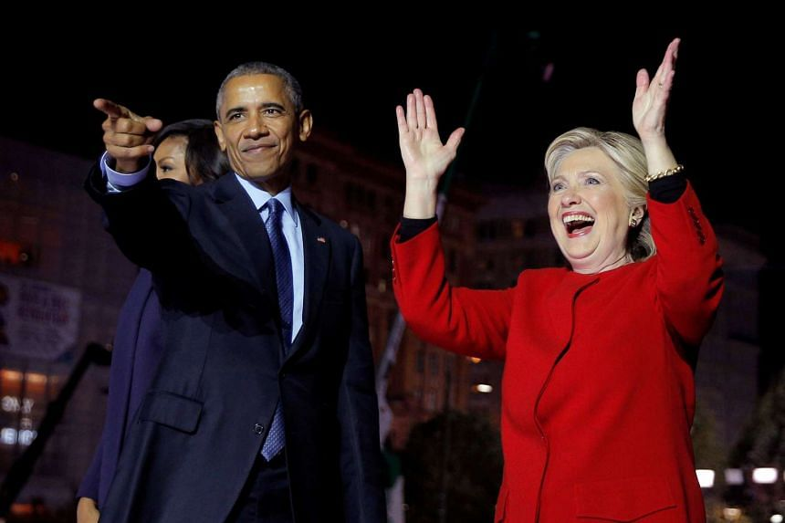 US Democratic presidential nominee Hillary Clinton is joined by US President Barack Obama at a campaign rally on Independence Mall in Philadelphia, Pennsylvania.