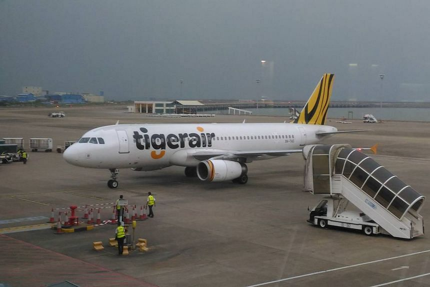 A photo of the Tigerair plane which had to turn back to Macau because of engine issues.