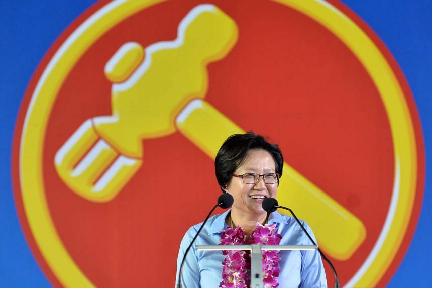 Sylvia Lim, Workers' Party (WP) chairman, speaking at the WP rally for Aljunied GRC at Serangoon Stadium.