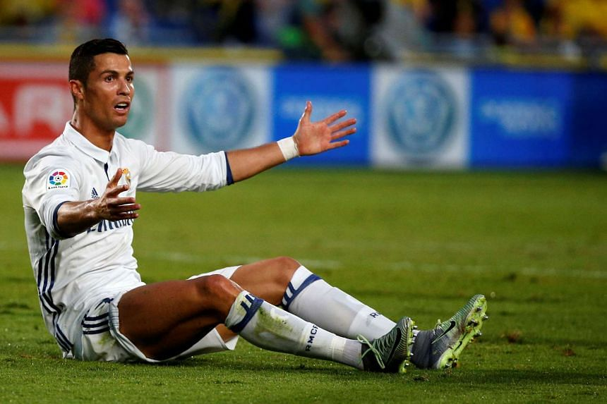Real Madrid's Cristiano Ronaldo reacts during the match on Sept 24, 2016.