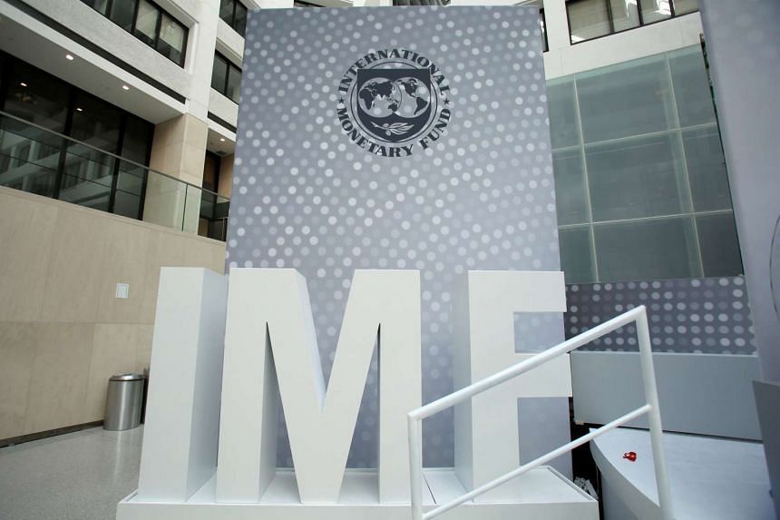 International Monetary Fund logo is seen inside the headquarters at the end of the IMF/World Bank annual meetings in Washington, US, on Oct 9, 2016.