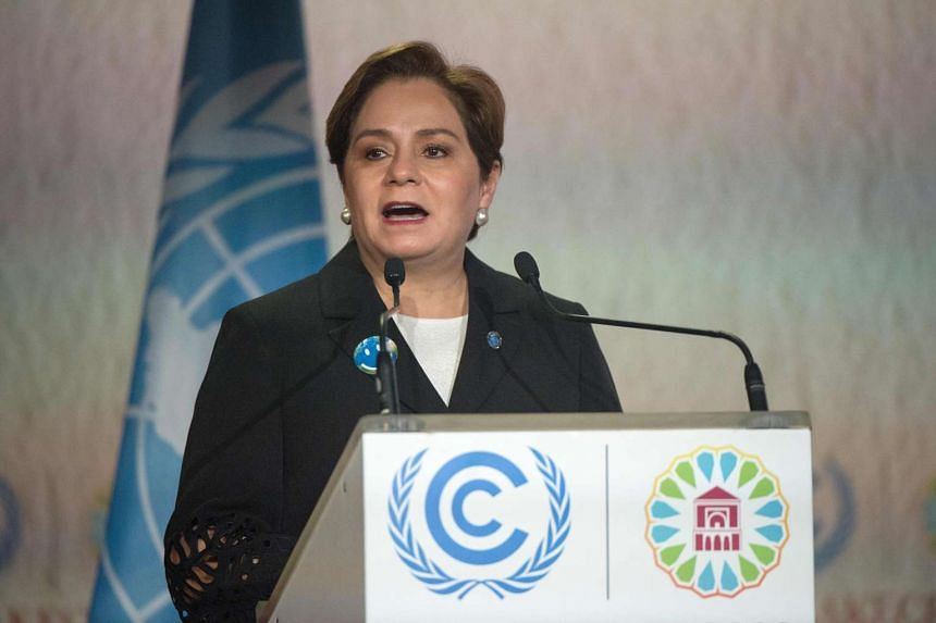 UN climate chief Patricia Espinosa delivers a speech during the opening session of the COP22 climate talks in Marrakesh on Nov 7, 2016.