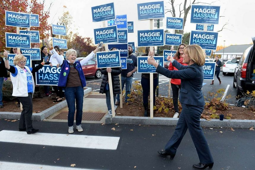 US Senate nominee Maggie Hassan greeting supporters outside the Boys & Girls Club in Concord, New Hampshire.