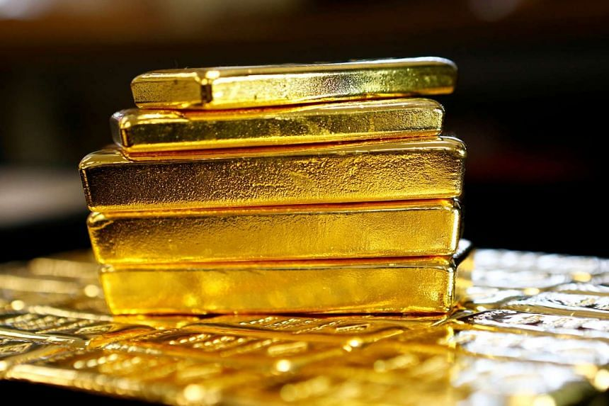 Gold bars are seen at the Austrian Gold and Silver Separating Plant 'Oegussa' in Vienna, Austria.