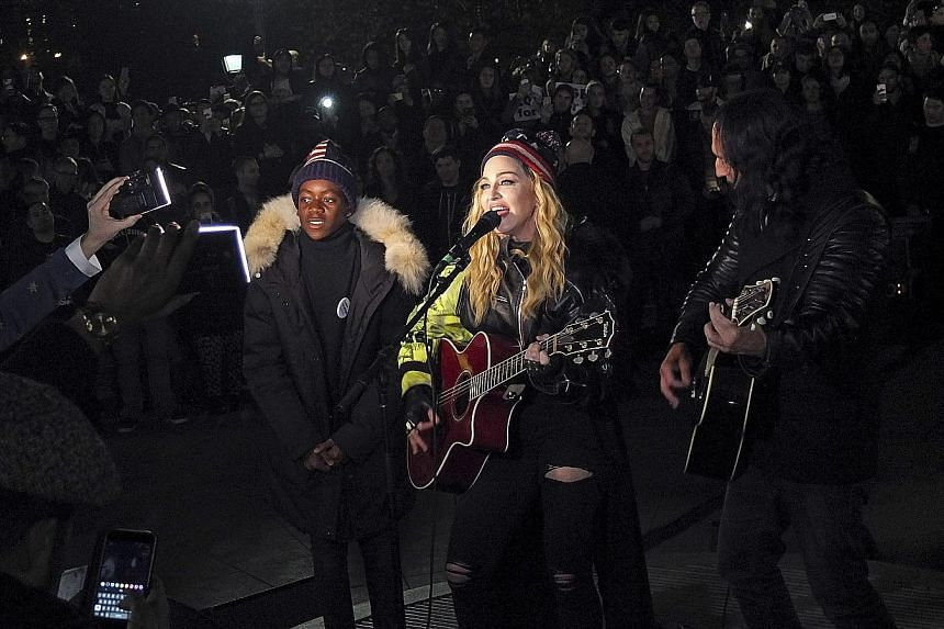 Madonna played a surprise concert in support of Democratic presidential nominee Hillary Clinton in Manhattan on Monday, the eve of Election Day.