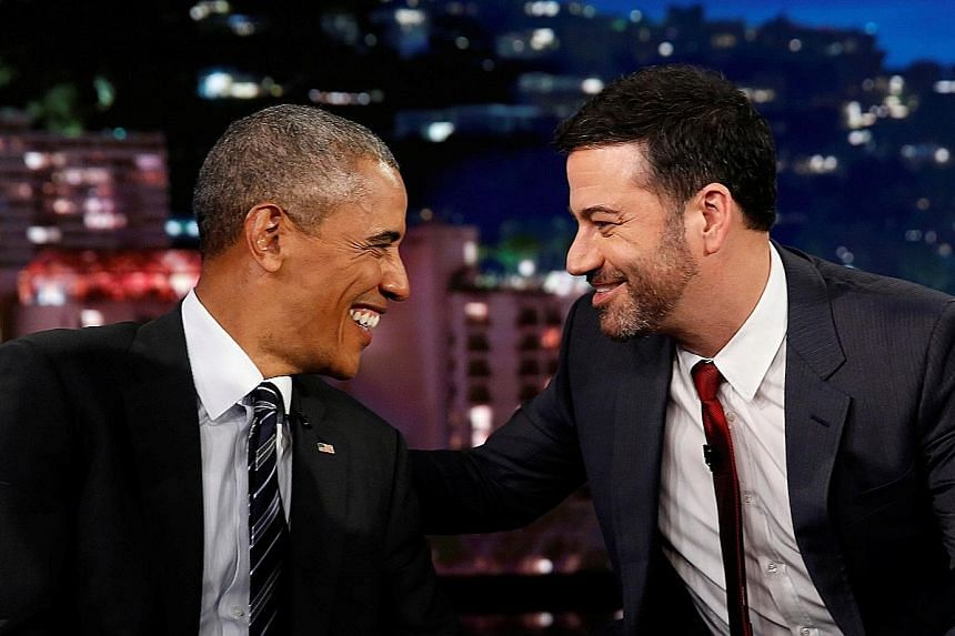 US President Barack Obama with television host Jimmy Kimmel during a break in the taping of the Jimmy Kimmel Live! show.