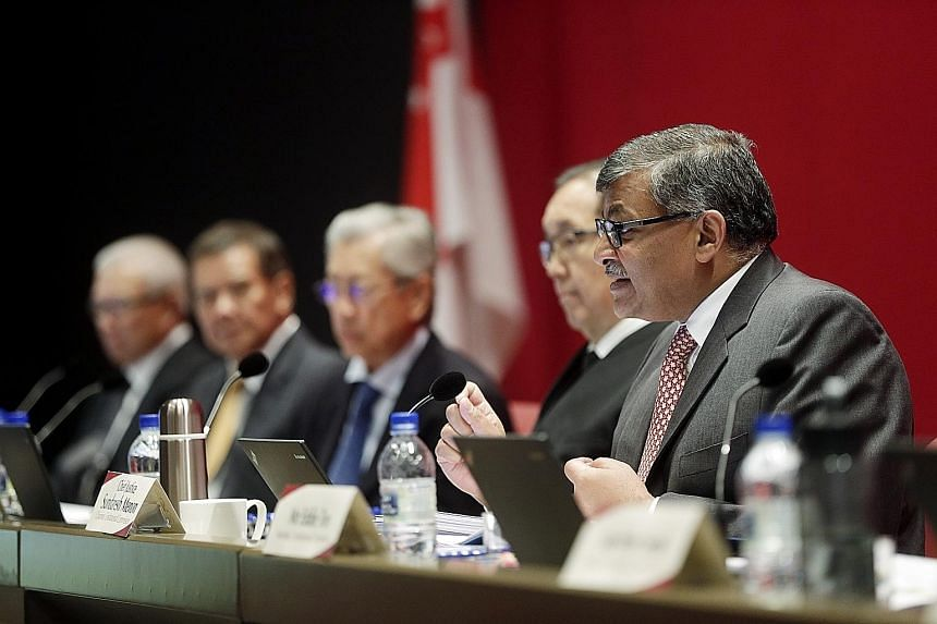 Chief Justice Sundaresh Menon speaking at a Constitutional Commission hearing on the elected presidency in May. The WP's submission to the commission in March did not mention a senate.
