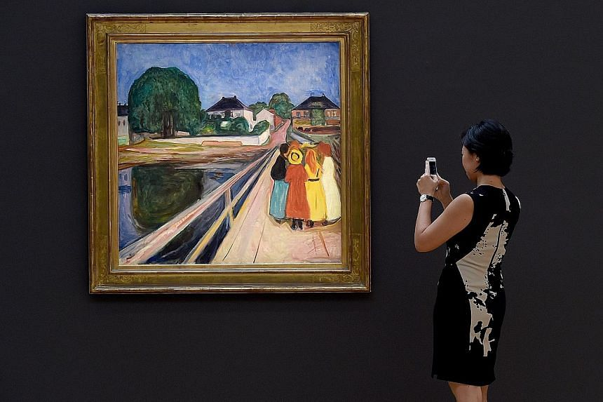 Edvard Munch's The Girls On The Bridge on display during the media preview last Friday for Sotheby's New York evening auctions of Impressionist & Modern Art and Contemporary Art.